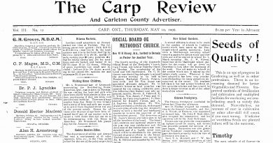 The front page of the May 10, 1906 Carp Review.