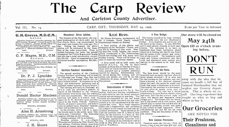 The front page of the May 24, 1906 Carp Review.