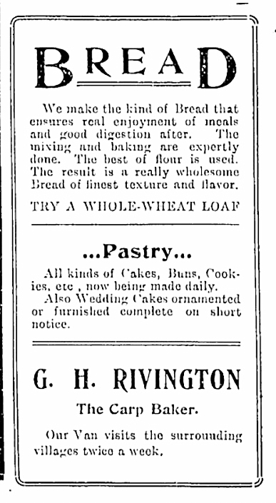 An ad from the May 24, 1906 Carp Review.