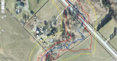A photo of the Casey Creek flood plain map.