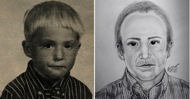 A photo of Adrien as a boy and an artist rendition of how he might look in his 40s.