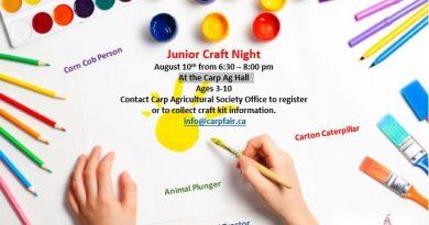 A poster for the Carp Fair Junior Craft Night Aug. 10.