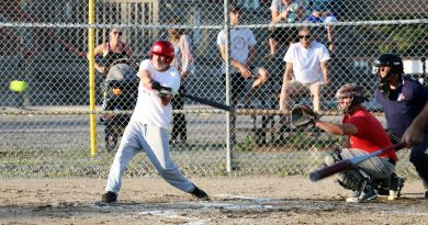 Todd Wilson takes a rip at a ball on opening night.