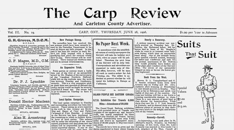 The front page of the June 28, 1906 Carp Review.