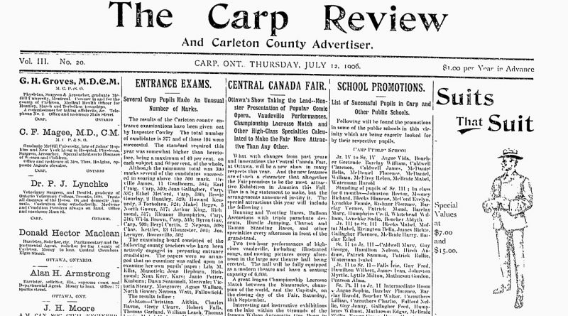 The front page of the July 12, 1906 Carp Review.