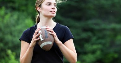 A photo of Anna King playing football.