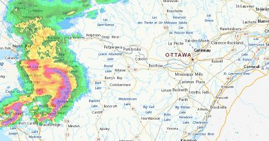 A radar photo of the approaching storm.