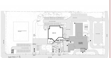 An architect's sketch of the emergency room's location.