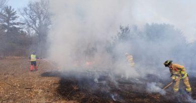 Firefighters battle a grass fire.