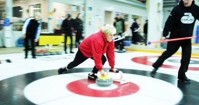 A new curler tries out the sport.