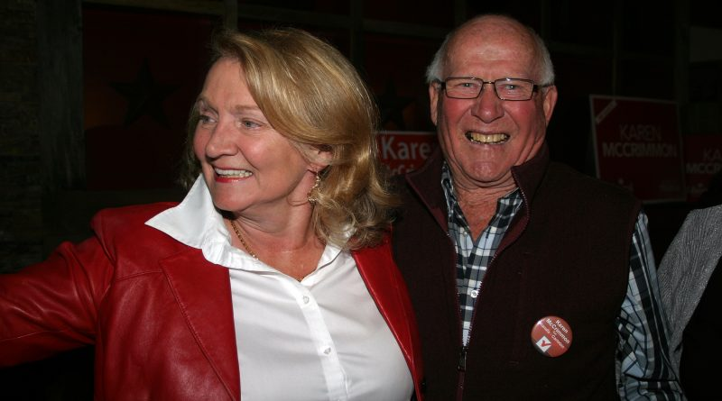 MP Karen McCrimmon, who will not seek re-election, celebrates her second win in 2019 with Kinburn's Jack Shaw.