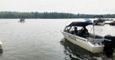 A photo of an OPP search boat.