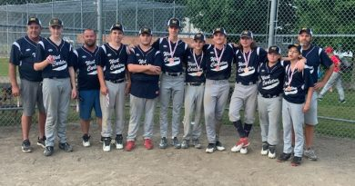 """The Junior Electric played in the U16 provincial B championship last weekend. From left are coach Blair Armstrong, Jack Armstrong, coach Josh Pennock, Gabe Brown, Blake Bramburger, Josh Langford, Brett Almeida, Conner Hopper, William Potten, Dawson Pennock, Hayden """"H.K."""" Khan and coach Adam Brown. Missing - since he was at the hospital - Zach Branchaud. Courtesy Adam Brown"""