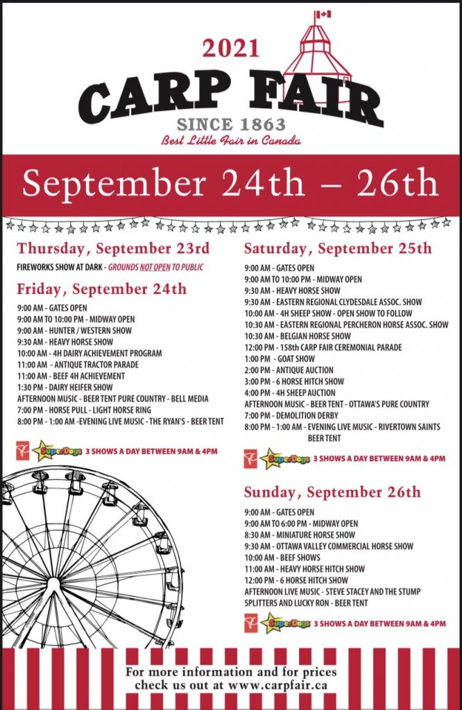 A photo of the schedule for the Carp Fair.