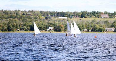 Monohull sailboats take part in the Kanata Sailing Club's regatta Saturday.