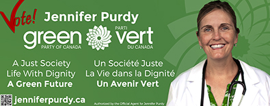 An ad for the Green Party's Jennifer Purdy.