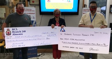 Rob Madore, Julie Munro and Al Roberts (Managing Director, AGH FVM Foundation) exchange checks worth $45,108.92.