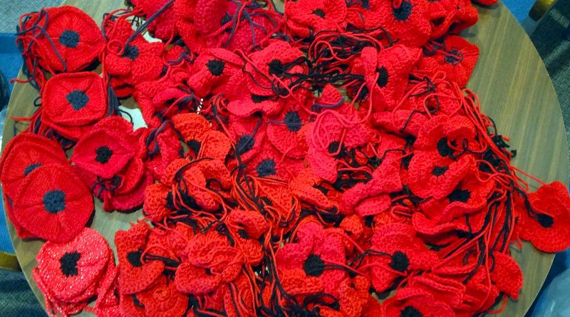 A photo of 156 knit and crocheted poppies.