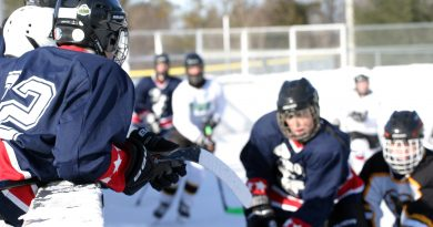 A photo of players playing during a WCOHL game in Fitzroy Harbour.